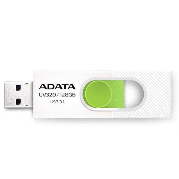 Imagine Stick USB 3.1 retractabil UV320 32GB Alb/verde, A-DATA