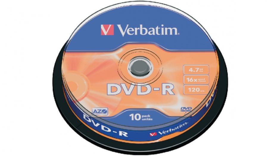 Imagine BLANK DVD-R Verbatim SL 16X 4.7GB 10PK SPINDLE MATT SILVER