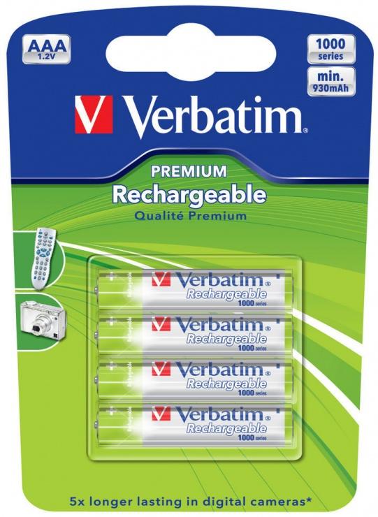 Imagine ACUMULATORI AAA (R3), 930mAh, 4 buc., Ni-MH, Verbatim 49942