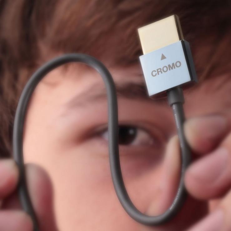 Imagine Cablu HDMI 4K 2.0 CROMO Slim cu Ethernet T-T 0.5M, Lindy L41670-2