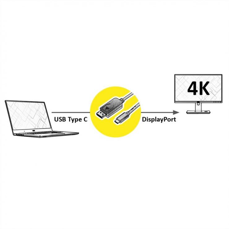 Imagine Cablu USB-C la Displayport v1.2 4K60Hz GOLD T-T 1m, Roline 11.04.5848-1