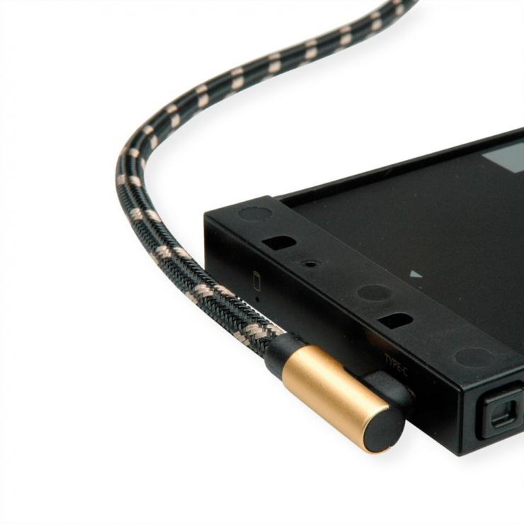 Imagine Cablu USB 2.0 tip C unghi 90 grade la USB-A reversibil GOLD T-T 0.8m, Roline 11.02.9060