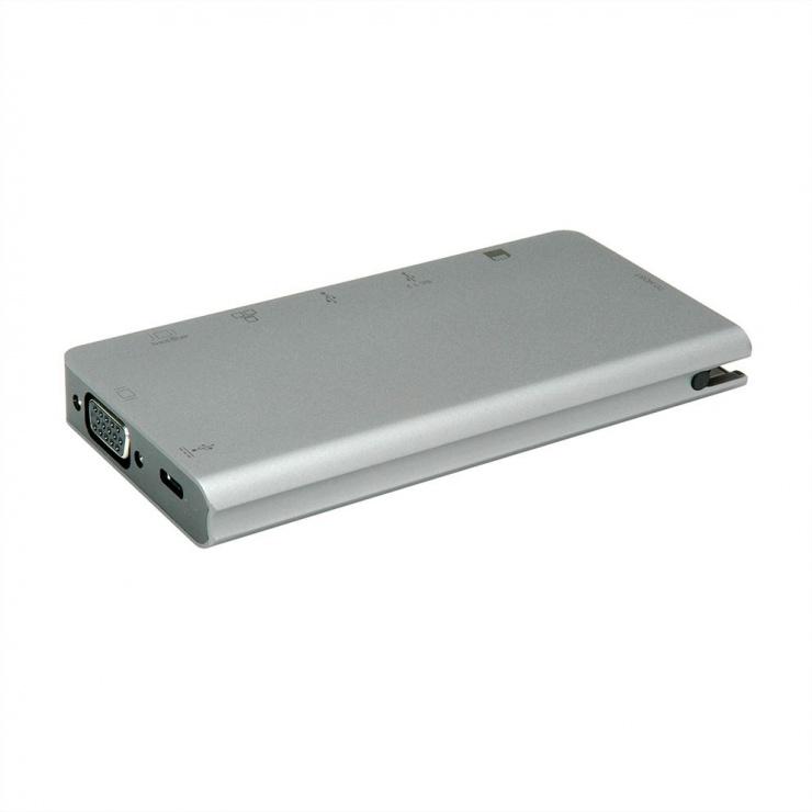 Imagine Docking station USB-C la HDMI 4K60Hz/VGA/2 x USB 3.1 Gen 1/LAN/PD/Cititor de carduri, Roline-2