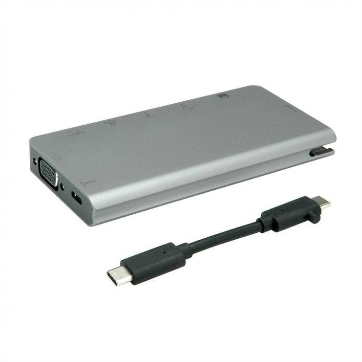 Imagine Docking station USB-C la HDMI 4K60Hz/VGA/2 x USB 3.1 Gen 1/LAN/PD/Cititor de carduri, Roline-3
