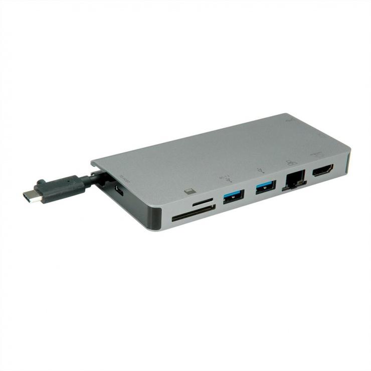 Imagine Docking station USB-C la HDMI 4K60Hz/VGA/2 x USB 3.1 Gen 1/LAN/PD/Cititor de carduri, Roline-1
