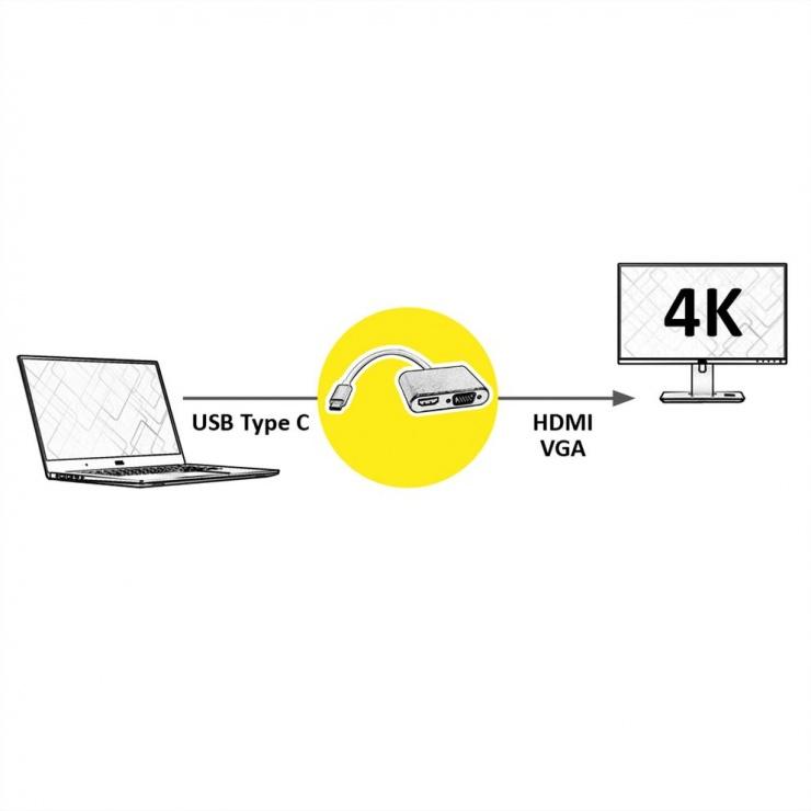 Imagine Adaptor USB-C la HDMI 4K@60Hz + VGA T-M 0.1m, Roline 12.03.3165