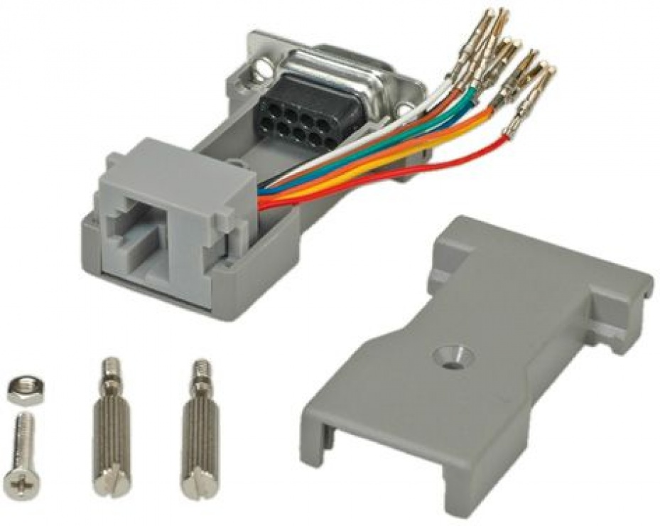 Imagine Adaptor serial socket DB9 la RJ45, Roline 12.03.7530