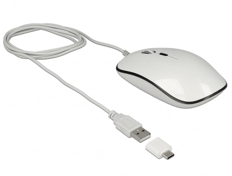 Imagine Mouse optic USB 4 butoane USB-A + adaptor USB-C alb, Delock 12532