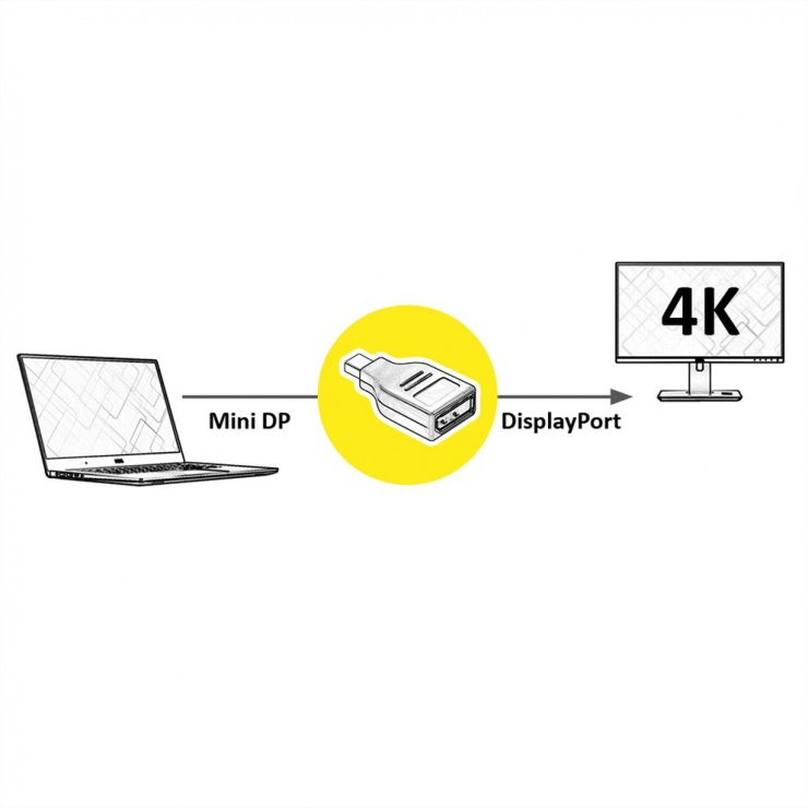 Imagine Adaptor Mini Displayport la Displayport T-M v1.2 4K60Hz, Value 12.99.3161
