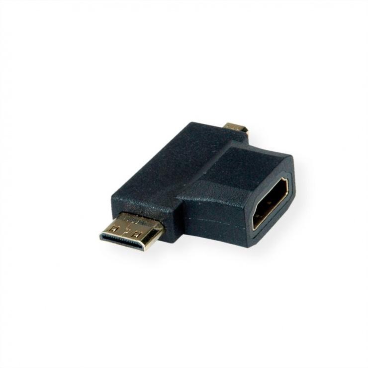 Imagine Adaptor HDMI-A la micro HDMI-D + mini HDMI-C M-T, Value 12.99.3166