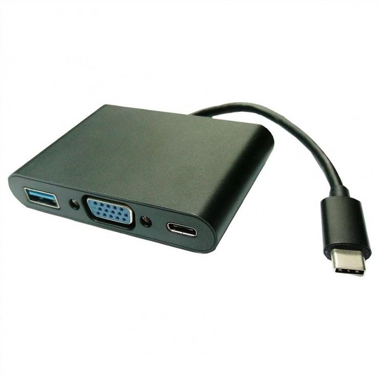 Imagine Adaptor USB-C la VGA + 1 x USB-A 3.0 + 1 x USB-C PD (Power Delivery) T-M 0.1m, Value 12.99.3201