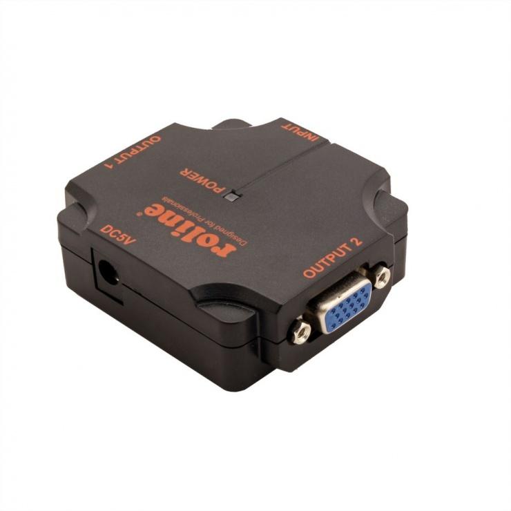 Imagine Multiplicator VGA 2 porturi 450Mhz, portabil, Roline 14.01.3534-1