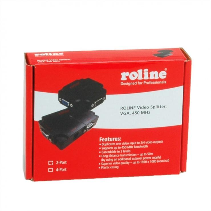 Imagine Multiplicator VGA 2 porturi 450Mhz, portabil, Roline 14.01.3534-4