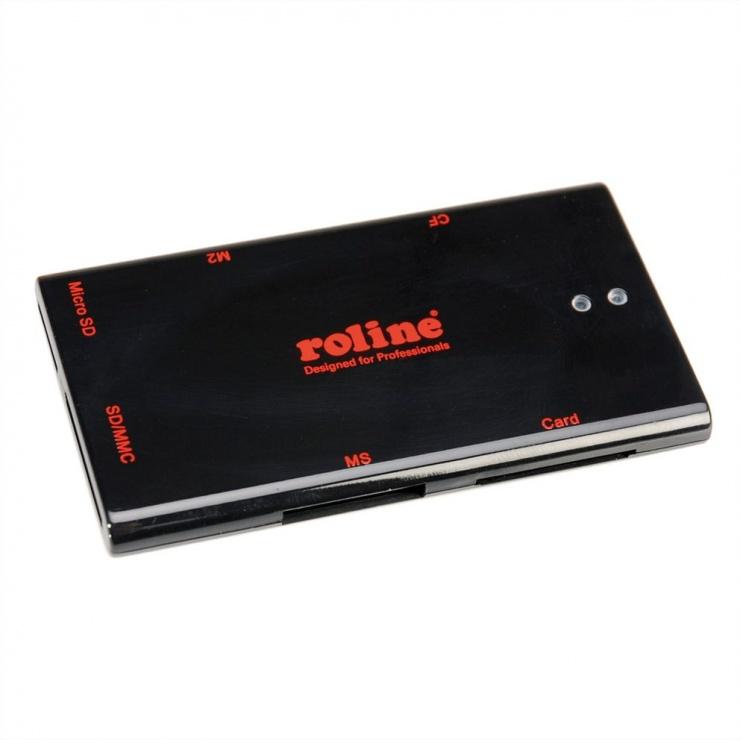Imagine Mini cititor de carduri USB 2.0 50+ Negru, Roline 15.08.6247