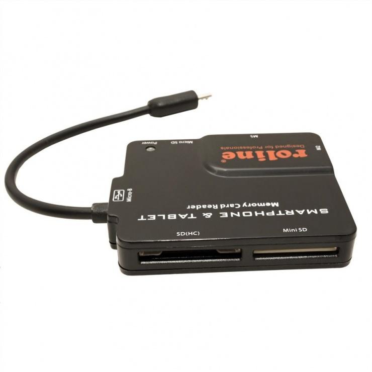 Imagine Cititor de carduri USB 2.0 pentru Smartphone si tableta Android, Roline 15.08.6252-1