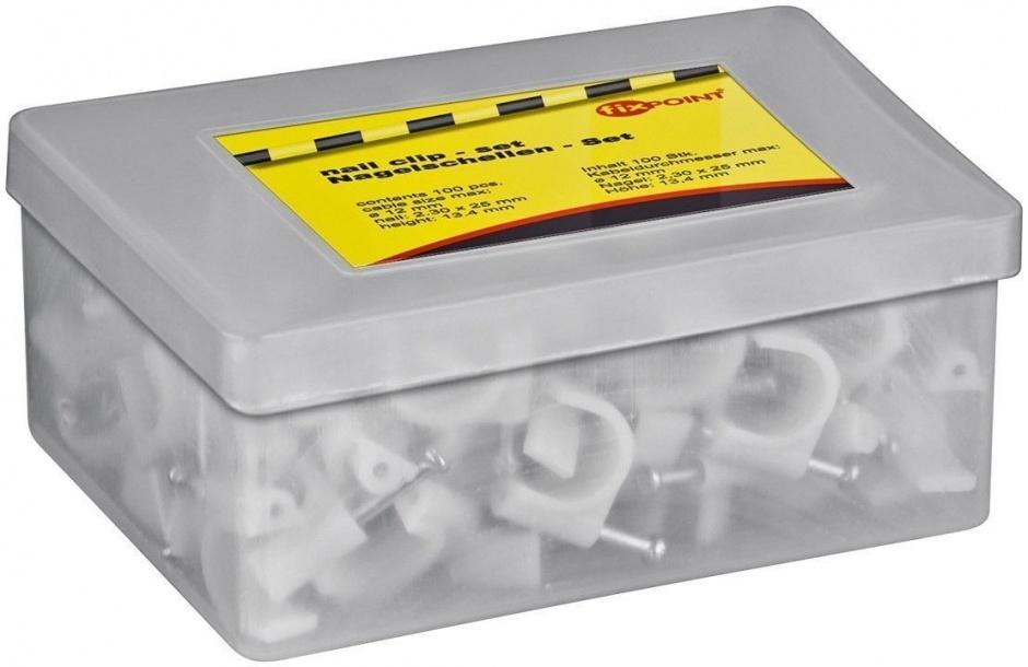 Imagine Clips fixare cablu 12 mm, set 100 buc, gri, fixPoint 17125-1