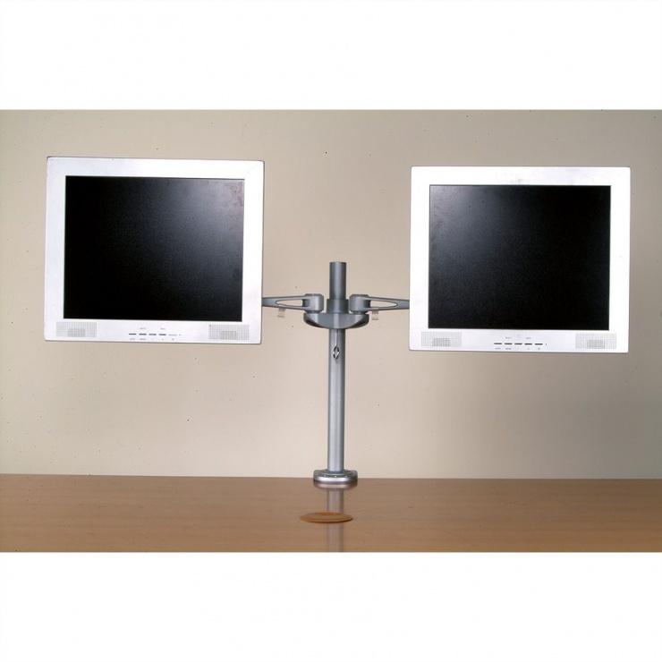 Imagine Suport pentru 2 x monitor LCD VESA 75/100, montare masa, Value 17.99.1133