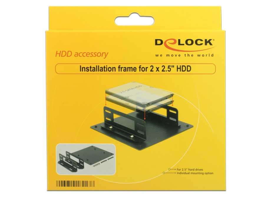 "Imagine Kit pentru montare 2 x 2.5"" HDD, Delock 18213"