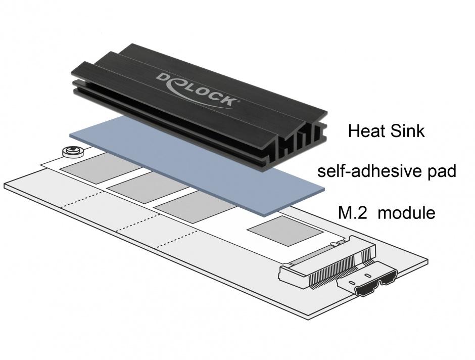Imagine Cooler (ventilator) 100 mm din aluminiu pentru SSD M.2, Delock 18284