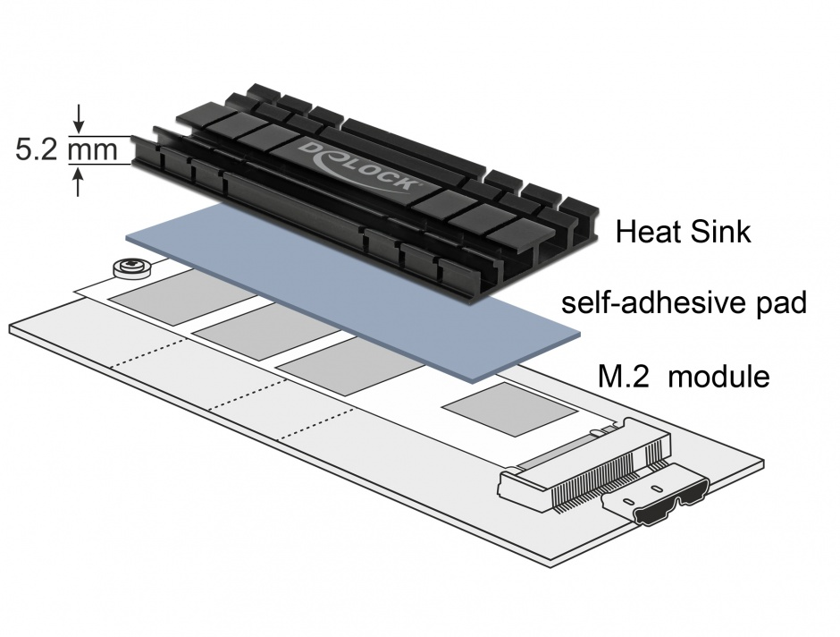 Imagine Cooler (ventilator) flat 100 mm din aluminiu pentru SSD M.2, Delock 18286