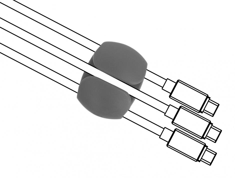 Imagine Set 6 buc clips cablu 2 albe/2 gri/2 negre, Delock 18302
