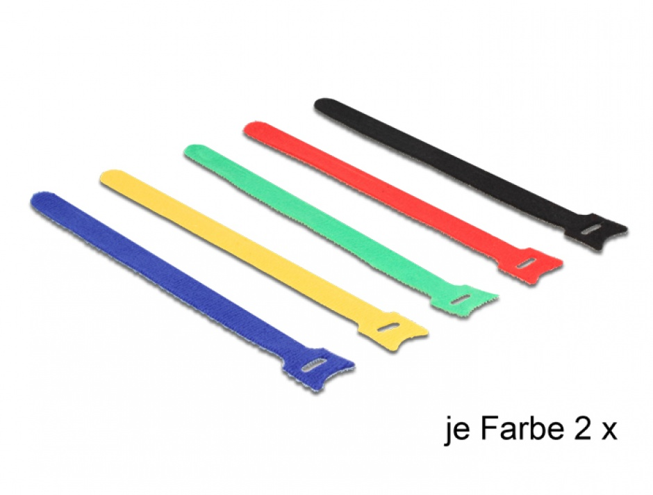 Imagine Curele pentru prindere cabluri colorate 240 x 12 mm 10buc, Delock 18636