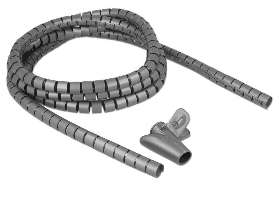 Imagine Organizator cabluri spiralat 2.5m x 15mm Gri, Delock 18843
