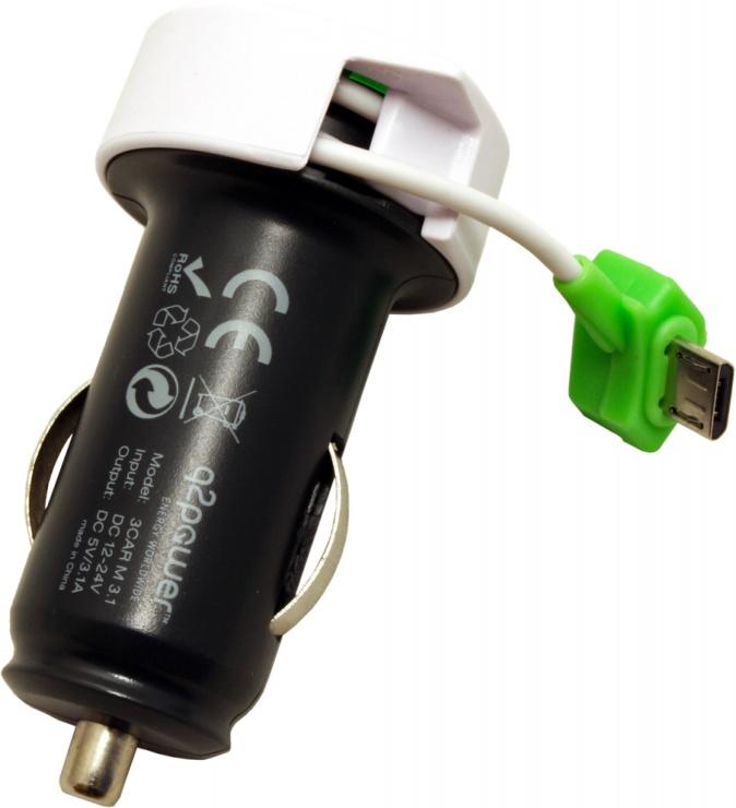 Imagine Incarcator auto cu 2 x USB 3.1A + cablu micro USB, Q2POWER 19.07.1583