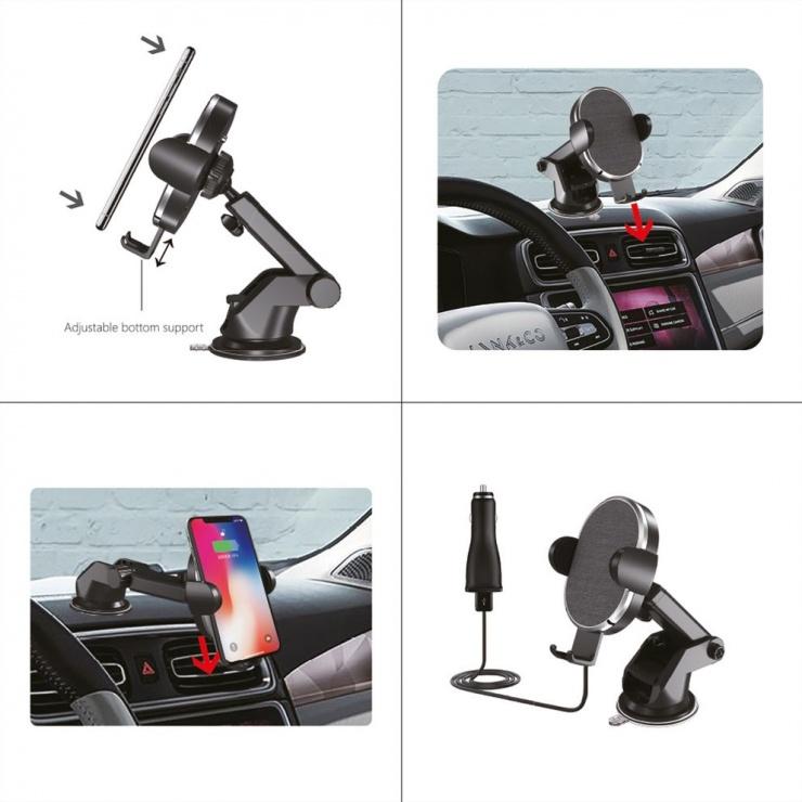 Imagine Suport auto pentru smartphone cu incarcare fast wireless 10W, Roline 19.11.1013-1