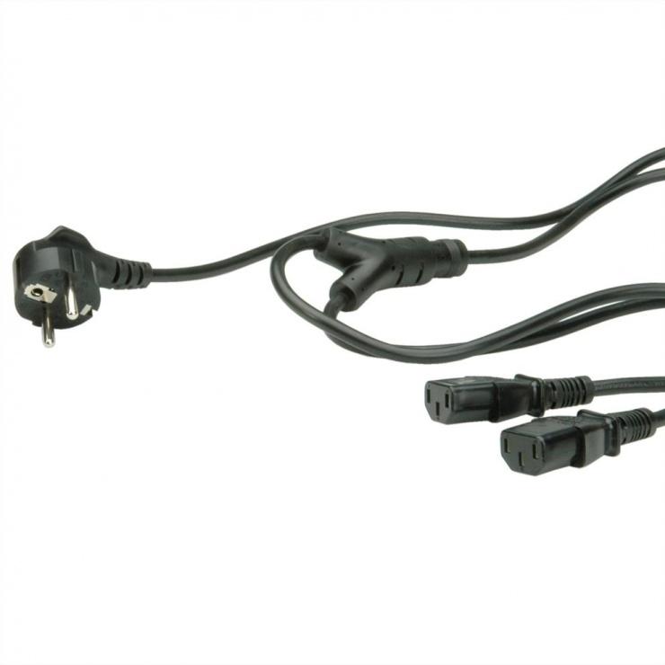 Imagine Cablu Y alimentare Schuko la IEC C13 PC & Monitor 1.8m, 19.99.1022