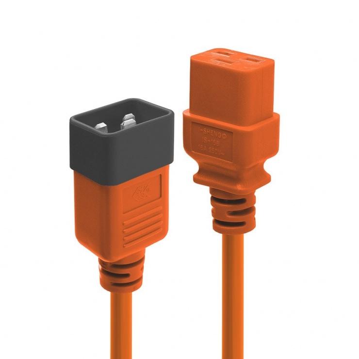 Imagine Cablu de alimentare IEC C19 la C20 3m Orange, Lindy L30128
