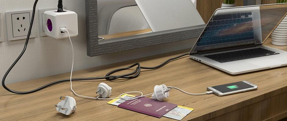 Imagine Prelungitor Power Cube ReWirable USB 4 prize + 2 x USB + 4 adaptoare priza, Allocacoc-1