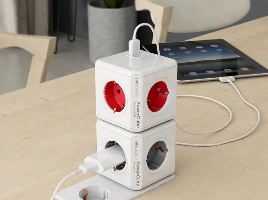 Imagine Prelungitor in forma de cub PowerCube Original 4 prize Schuko si 2 X USB Albastru, Allocacoc-2