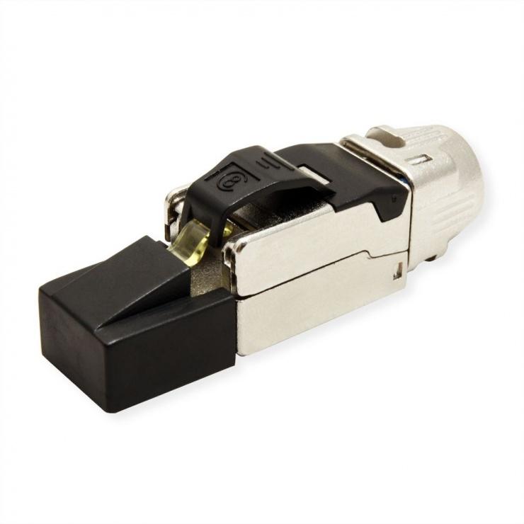 Imagine Conector RJ45 cat 8.1 pentru fir solid AWG 22 - 24, Roline 21.17.3086-1