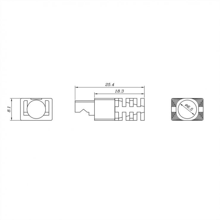 Imagine Set 10 buc conector modular RJ45 cat 6 neecranat bow latch, Roline 21.17.3090-2