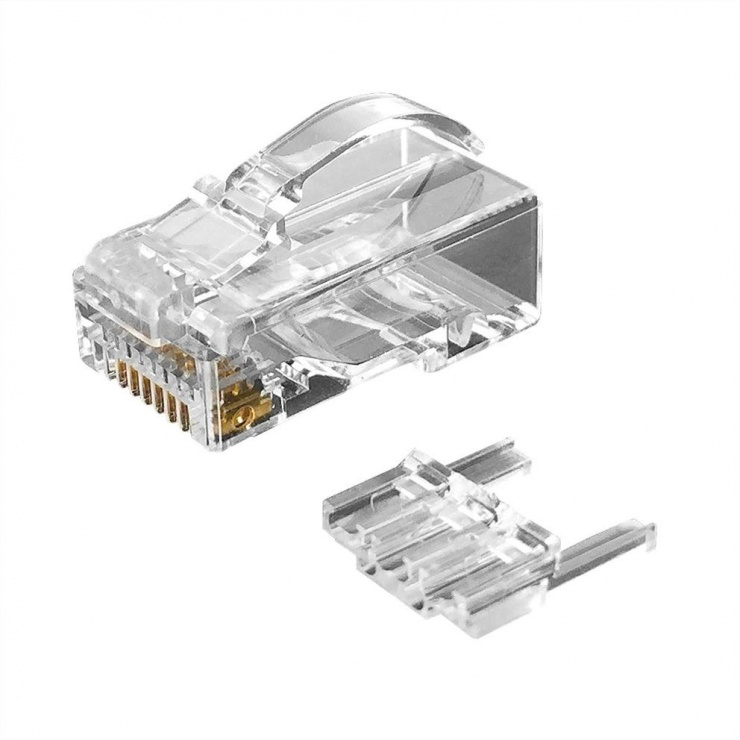Imagine Set 10 buc manson + conector modular RJ45 cat 6 pentru fir solid neecranat bow latch, Roline 21.17.3090