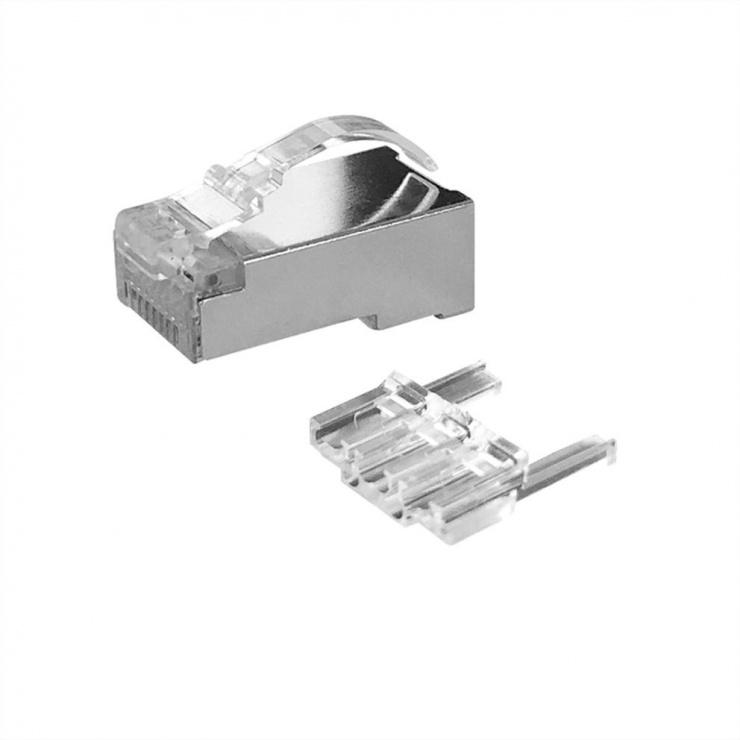 Imagine Set 10 buc manson + conector modular RJ45 cat 6 pentru fir solid ecranat bow latch, Roline 21.17.3091