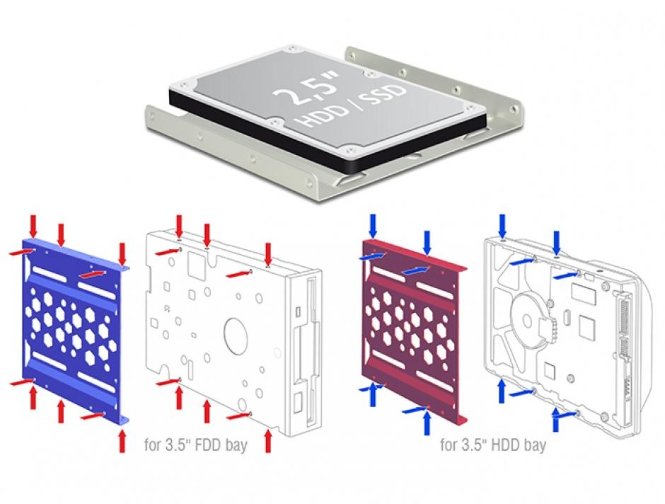 """Imagine Kit instalare HDD 2.5"""" la 3.5"""" aluminiu Argintiu, Delock 21289"""