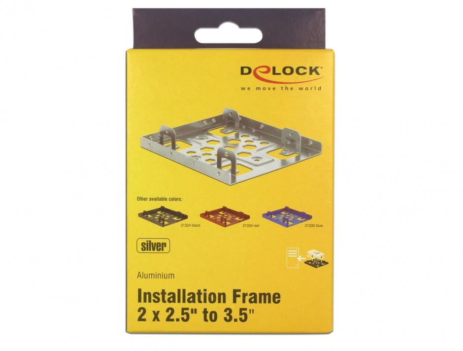 """Imagine Kit de instalare 2 x 2.5"""" HDD in bay 3.5"""" argintiu aluminiu, Delock 21333"""
