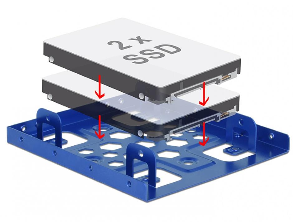 "Imagine Kit de instalare 2 x 2.5"" HDD in bay 3.5"" albastru aluminiu, Delock 21335"