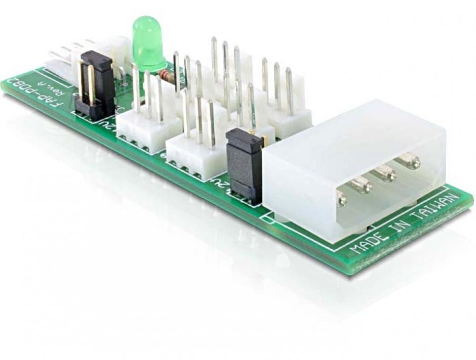 Imagine Placa distributie (HUB) Molex/Floppy la 6 porturi ventilator 3 pini 5V-12V, Delock 25218
