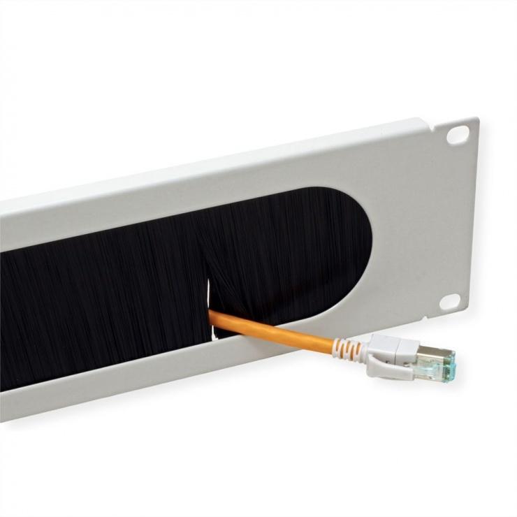 "Imagine Panou cabluri cu perii ghidaj 19"" 2U RAL7035 Gri deschis, Value 26.99.0314-1"