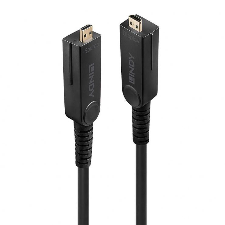 Imagine Cablu micro HDMI v2.0 4K60Hz Fibra optica Hybrid HDR - conectori HDMI, DVI detasabili T-T 10m, Lindy L38320