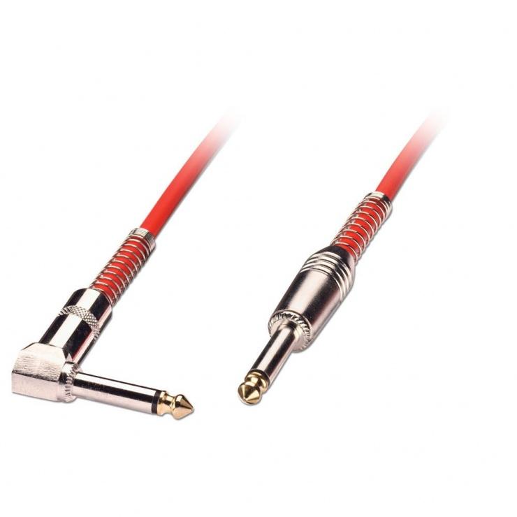 Imagine Cablu audio jack mono 6.35mm (pentru chitara) unghi 90 grade T-T 2m Rosu, Lindy L6002