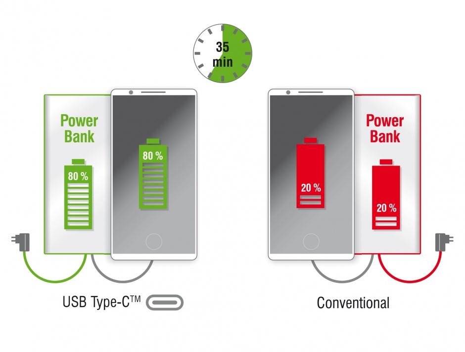 Imagine Baterie externa 5000 mAh 1 x USB-A, 1 x USB-C, Delock 41504