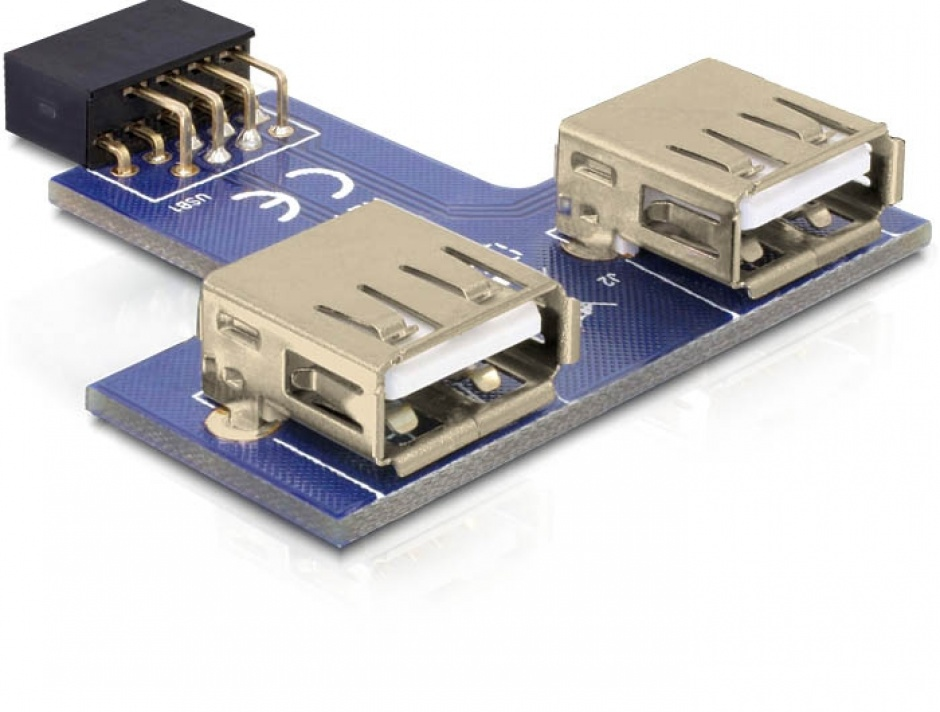 Imagine Adaptor pin header la 2 x USB 2.0 orientare sus, Delock 41824
