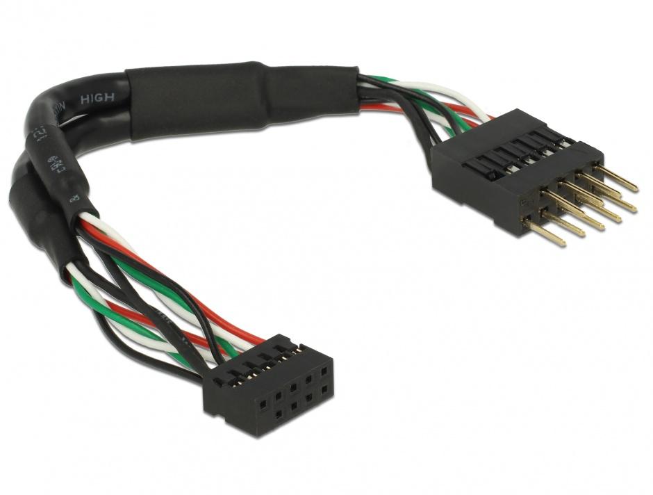 Imagine Cablu USB 2.0 pin header 2.00 mm 10 pini la USB 2.0 pin header 2.54 mm 10 pini M-T 12cm, Delock 4197