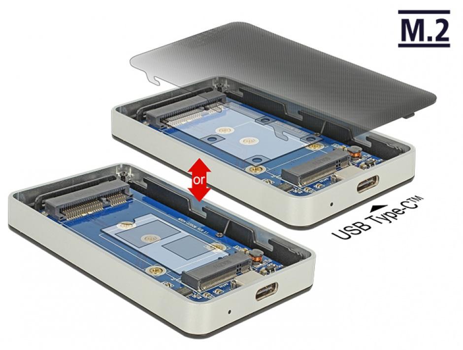 Imagine Rack extern M.2 Key B 42 mm / mSATA SSD la USB-C 3.1 Gen 2, Delock 42592