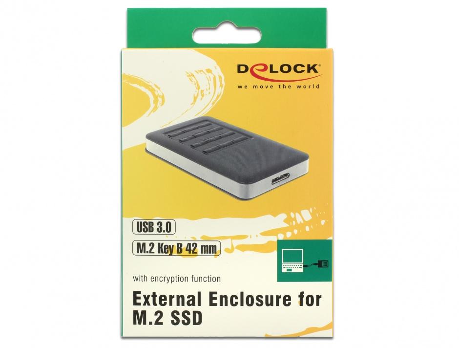 Imagine Rack extern M.2 Key B 42 mm SSD la micro USB-B 3.0 cu encryption function, Delock 42594
