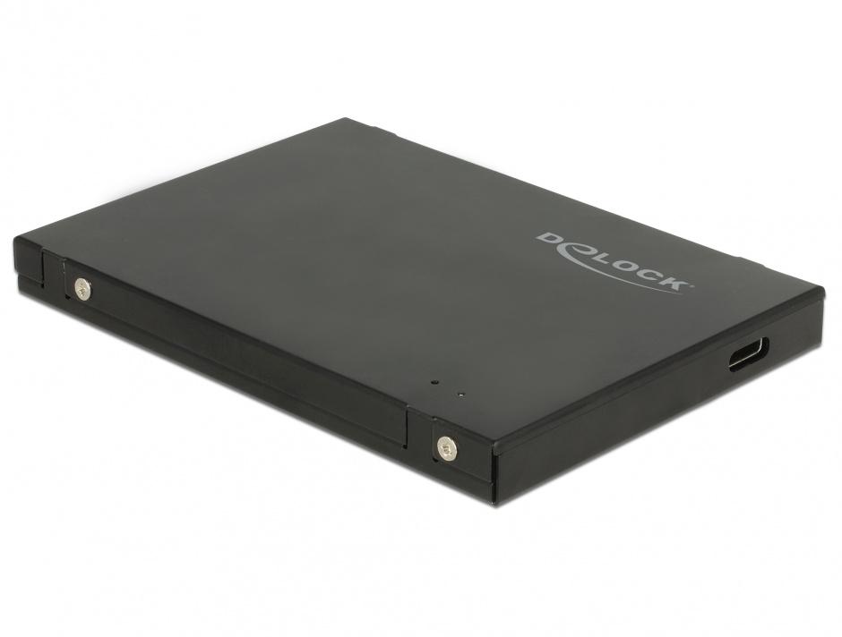"""Imagine Rack extern 2.5"""" pentru M.2 NVMe PCIe SSD la USB-C 3.1 cu protectie EDS, Delock 42609"""